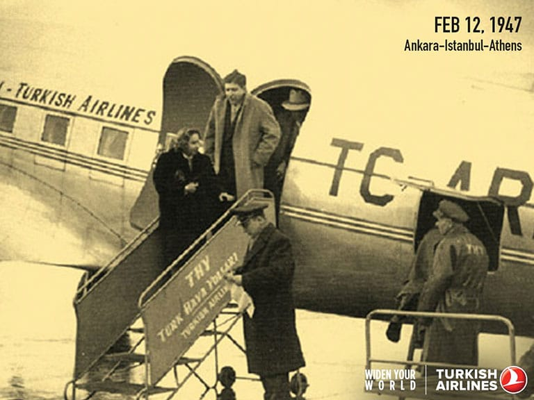 Turkish Airlines First International Flight Ankara-Istanbul-Athens in 1947