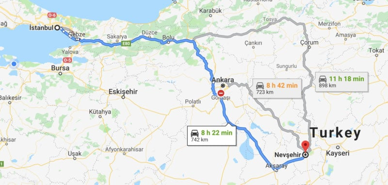 Istanbul to Cappadocia Distance Map