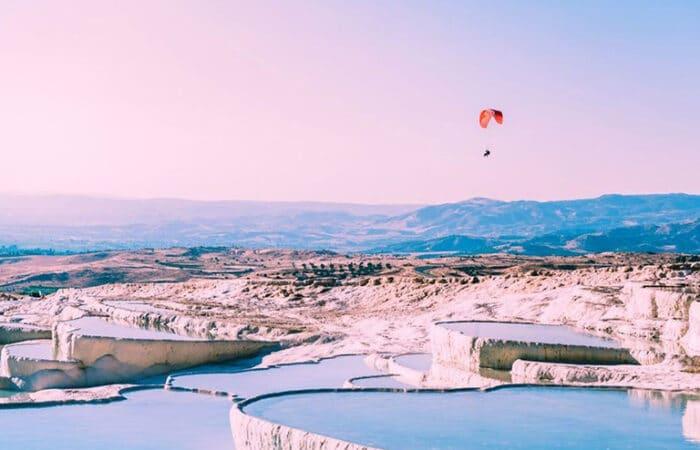 Paragliding over Pamukkale