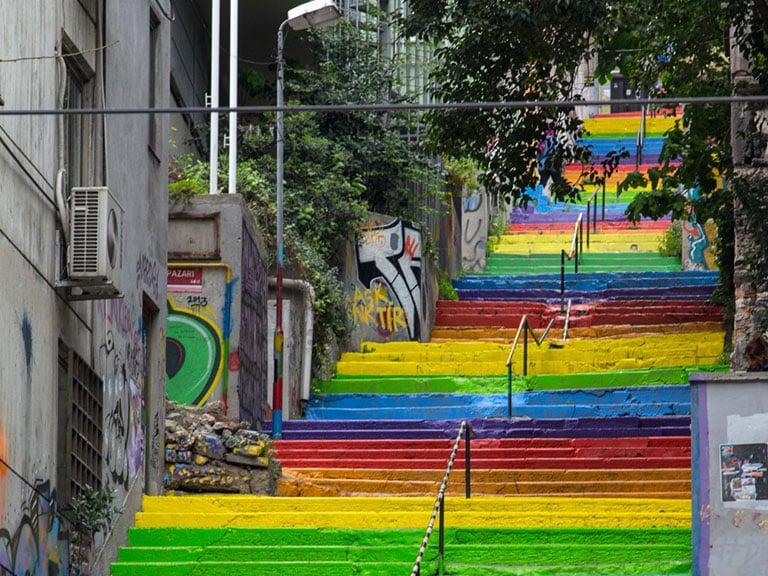 Photo Rainbow Stairs Istanbul