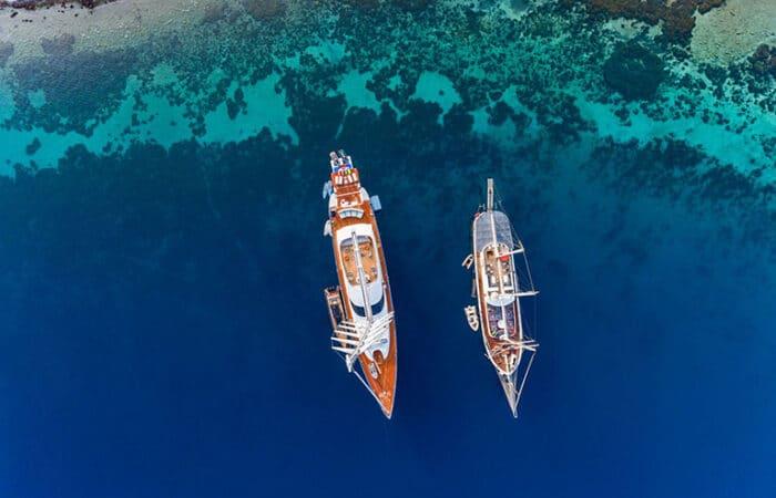 Luxury Yachts Anchored