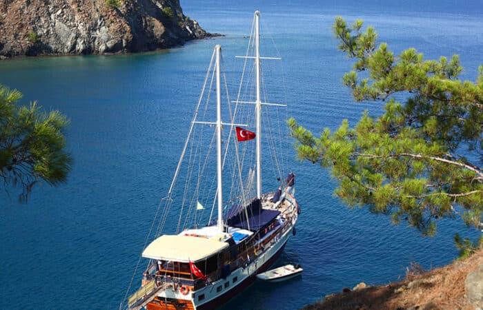 Turkish Gulet at cove