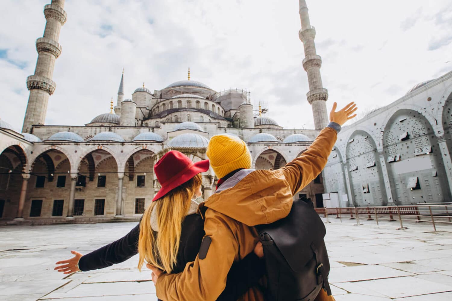Couple Visiting Blue Mosque in Istanbul