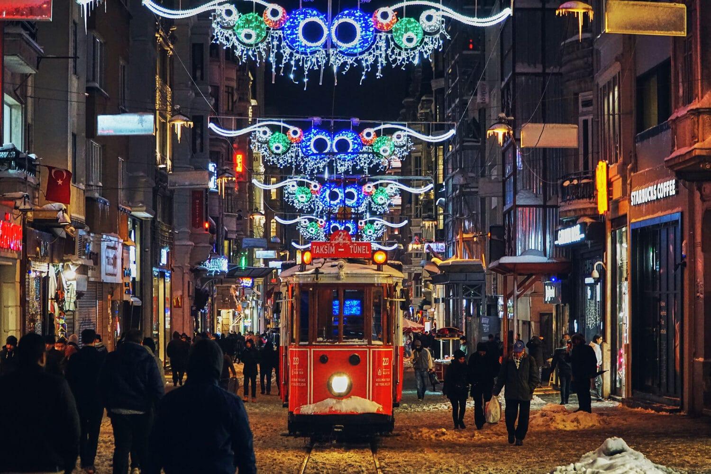 Istanbul Taksim Red Tram Winter Romance