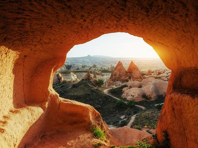 Unique Geological Formations at Red Valley in Cappadocia