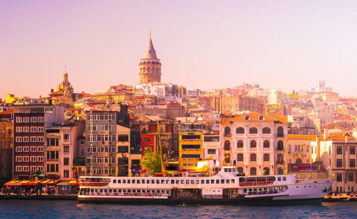 Galata Tower Photo with Public Ferry