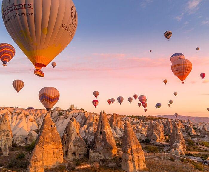 Hot air Balloon in Cappadocia valley view